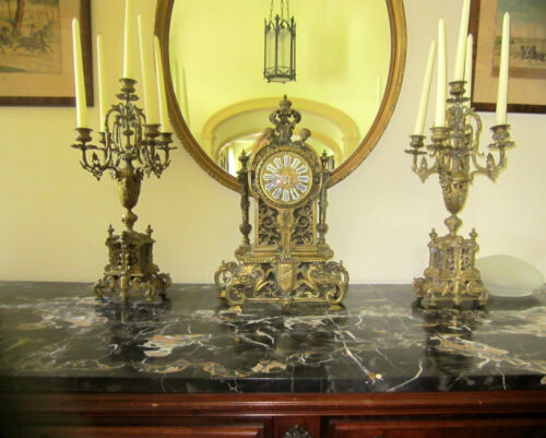 Beautiful antique Japy Freres Bronze Clock and Candelabra 3 piece Garniture set