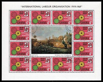 Ghana 386-88, O, Kleinbogen, 50 Jahre Internationale Arbeitsorganisation ILO