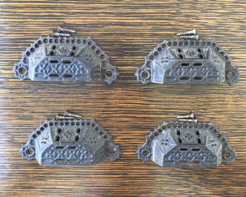 Set of 4 Eastlake Cast Iron Drawer Bin Pulls