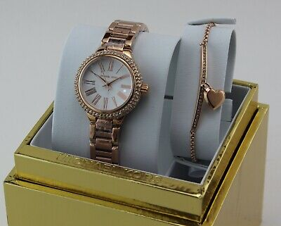 NEW AUTHENTIC MICHAEL KORS TARYN ROSE GOLD MOP WOMEN'S MK3858 BRACELET SET WATCH