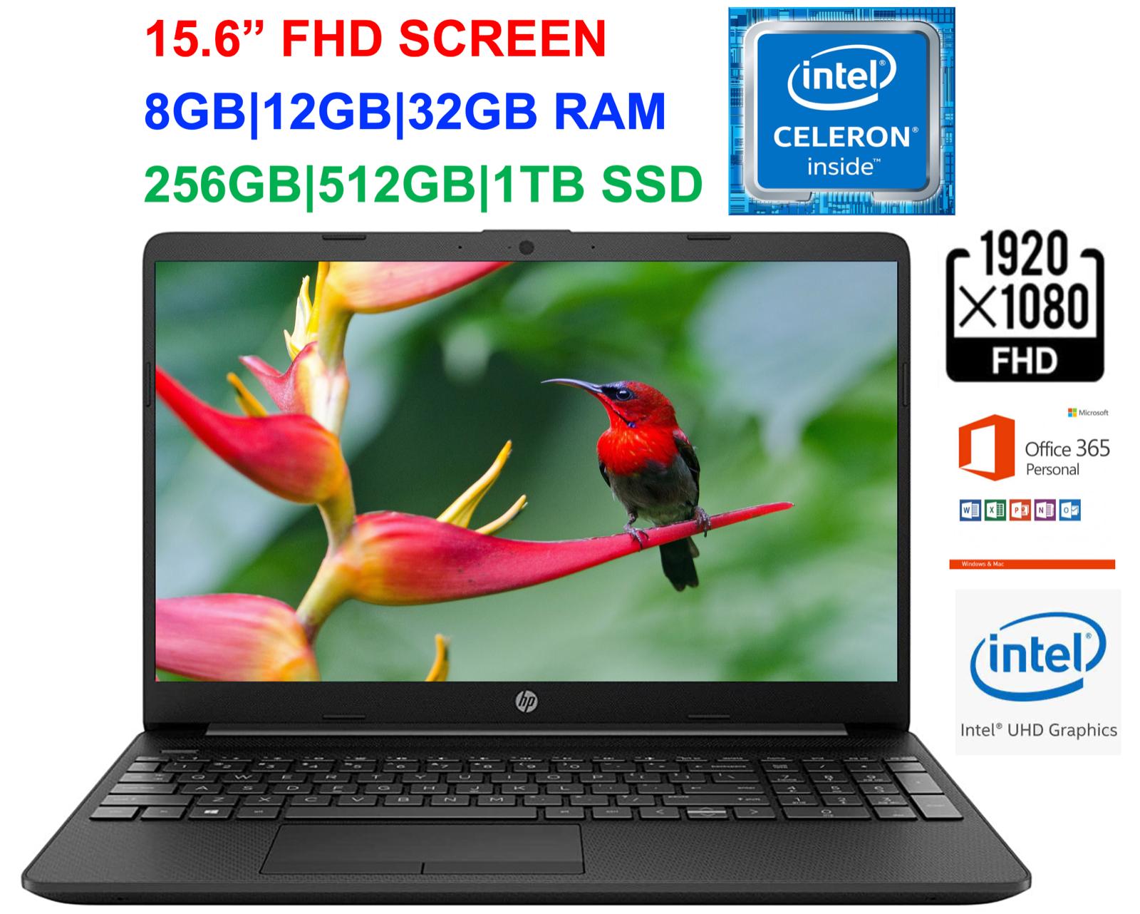 "2021 HP 15.6"" FHD Laptop Intel Celeron N4020, Up to 2.8GHz,16GB RAM &1TB SSD"