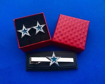 Dallas Cowboys Tie Clip & Cufflinks Set Cowboy Logo Gift Set Gift Idea (New) - Dallas Cowboys Gifts