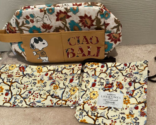 SNOOPY ZIPPERED POUCH + CLOTH BAGS