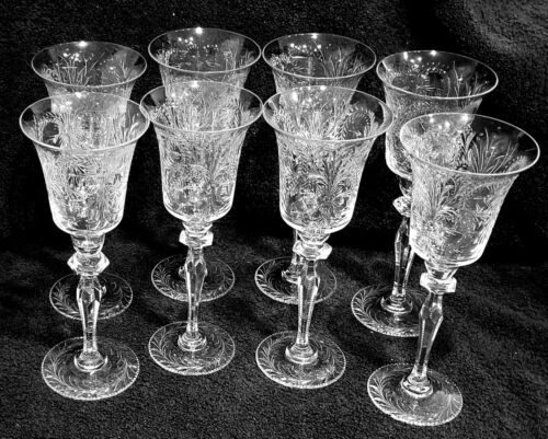 WOW! 8 MAGNIFICANT ANTIQUE PAIRPOINT WATER/WINE STEMS #133 BEDMINISTER PATTERN