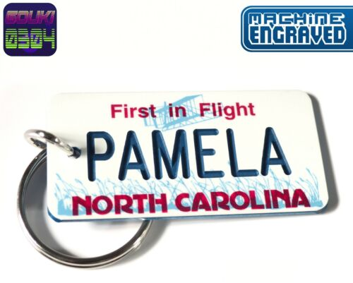 Personalized North Carolina Keychain - License Tag - Custom Engraved - Vintage