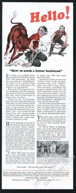 1951 cattle roping practice boys art Iowa cow 4H winners photo AMI print ad