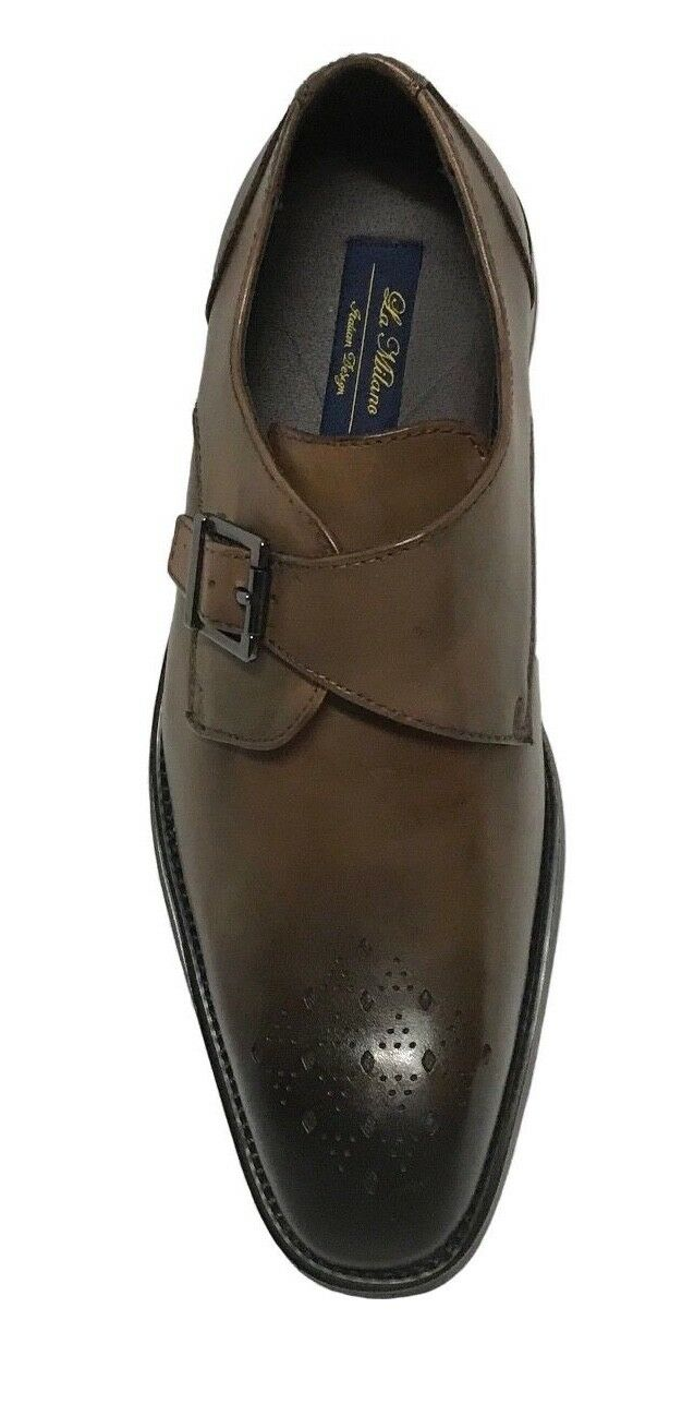 La Milano Men's Leather  Monk Strap Dress Shoes Brown A11231 1