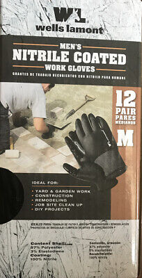 Wells Lamont Nitrile Coated 12 Pairs Ppe Work Gloves Size M Color Black New Box