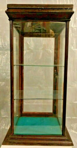 Vintage Countertop General Store Glass Wood Display Case W/Back Door