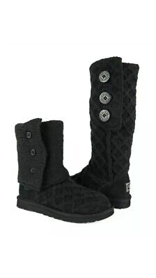 NIB UGG Australia Lattice Cardy Black Knit Boots Womens Size 5, used for sale  Roslyn