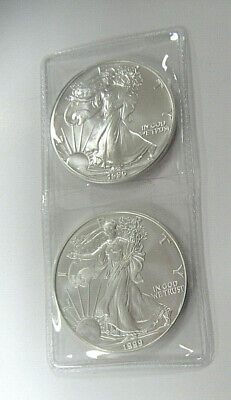 US Two UNC. 1 oz .999 SILVER AMERICAN EAGLES Dated 1990 & 1999-TWO TROY OZ TOTAL