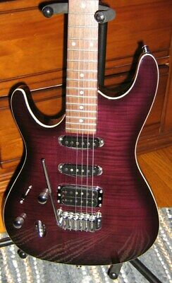 RARE LEFT HANDED IBANEZ SA260 ELECTRIC GUITAR PURPLE FLAME MAPLE, CARVED TOP