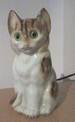 Katze Porzellan Rauchverzehrer Lampe Glasaugen 50er Jahre 17cm unbeschädigt
