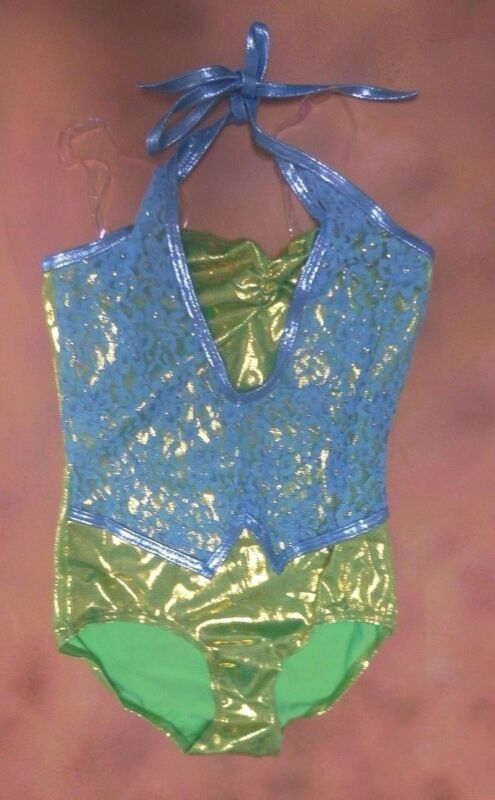 NWOT Dance COSTUME tap jazz intermediate (6x-7) child lace foil leotard