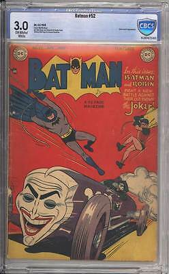 Batman # 52  Classic Joker Cover !  CBCS 3.0 scarce Golden Age book !