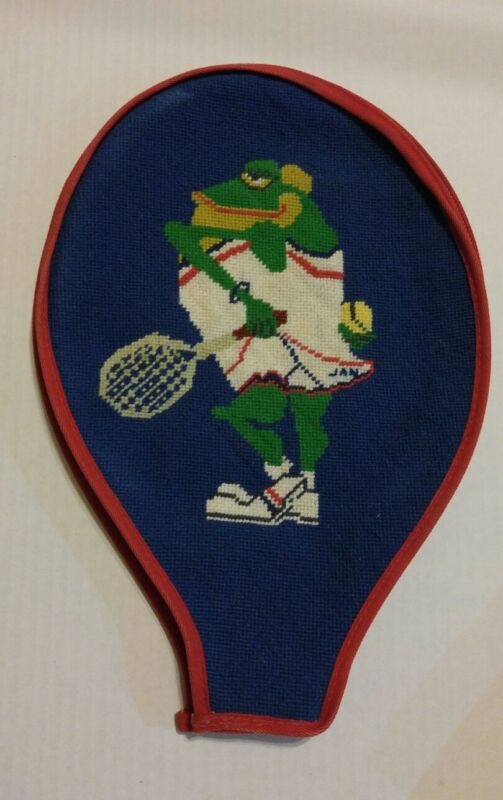 Vintage Needlepoint of lady Frog  tennis racquet cover