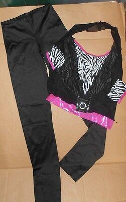 Jazz Tap Dance Costume Zebra Top Pants Sheer Mesh Halter ...