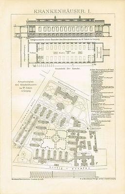 Tafel ARCHITEKTUR KRANKENHAUS ST. JAKOB LEIPZIG 1894 Original-Holzstich