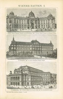 WIENER BAUTEN: HOFBURG / HOFOPER / JUSTIZPALAST 1895 Original-Holzstich