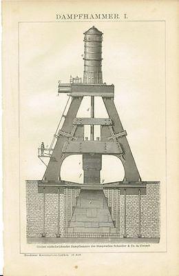 Tafel DAMPFHAMMER / MASCHINENHAMMER Original-Holzstich 1894