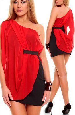 Sexy Miss Mujer One Hombro Doble Chifón Mini Vestido XS/S Rojo/Negro Nuevo...