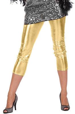 Disco Party Leggings gold NEU - Damen Karneval Fasching Verkleidung - Gold Disco Kostüm