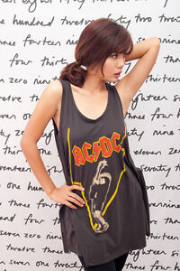 AC/DC Heavy Metal Rock Band Indie WOMEN T-SHIRT DRESS Tank TOP Vest Size M L