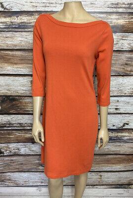 NWT Lauren Ralph Lauren Boatneck Knit Dress Orange Size Medium 3/4 Sleeve Sheath