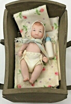 Artisan Dollhouse Baby in Cradle B1 for sale  Shipping to India