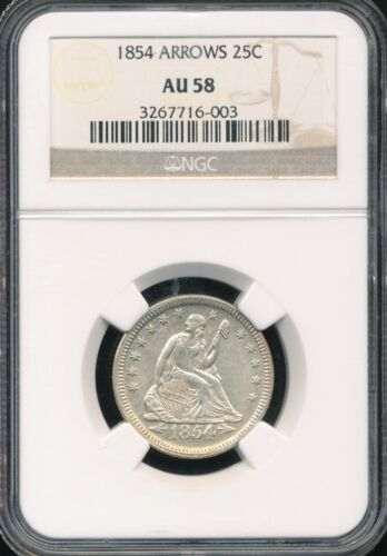 1854 With Arrows Seated Liberty Quarter NGC AU 58 *2-Year Type Coin!*
