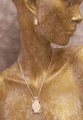 East 5th Silvertone 2 Pc Set Necklace & Drop Earrings Milky Iridescent Stone
