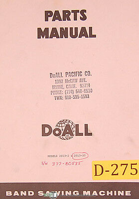 Doall 2013-2 2013-20 Vertical Contour Saw Parts And Illustrations Manual
