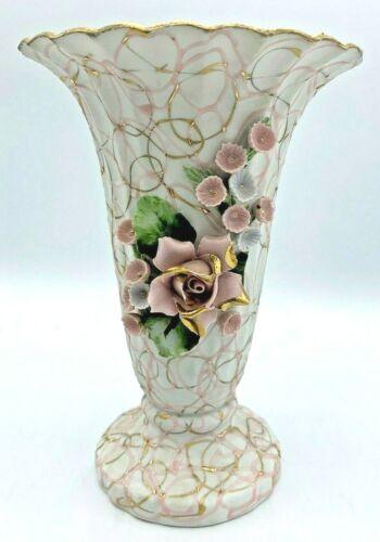 LEFTON CHINA 70444 PINK GOLD SWIRL TRUMPET VASE WITH ENAMELED FLOWERS **EUC**
