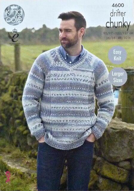 King Cole Mens Chunky Knitting Pattern Easy Knit Round Or V Neck