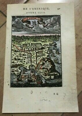 CAYENNE FRENCH GUIANA 1683 ALAIN MANESSON MALLET ANTIQUE BIRD'S VIEW IN COLORS