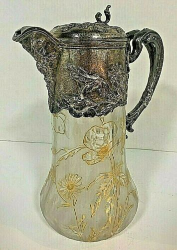 LEGRAS MT JOYE DECORATED CRYSTAL AND SILVER ON COPPER FLORAL MOTIF CLARET JUG
