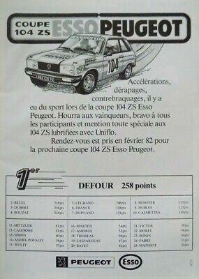 """Publicité de presse (clipping) - Peugeot 104 ZS """" Esso """""""