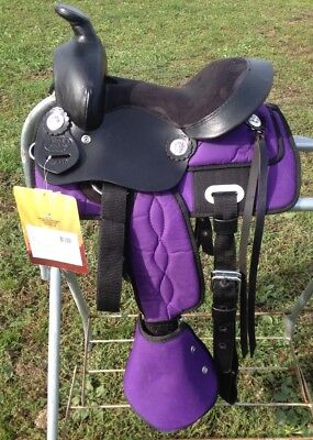 """10""""  purple nylon & leather Krypton western pony/ youth /trail saddle for sale  Shipping to Canada"""