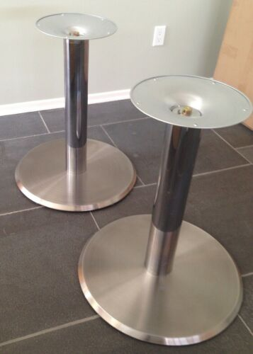 """Table Base 24"""" Round Stainless Steel with Chrome Column (2)"""