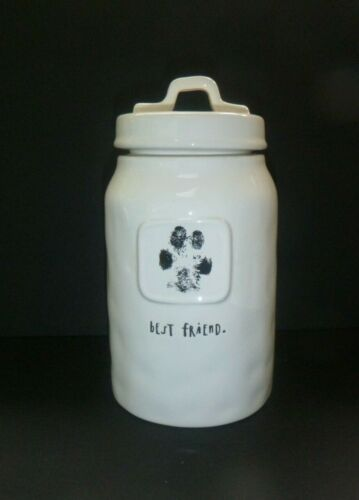 "Rae Dunn By Magenta "" Best Friend "" Paw Print Dog Treat Canister Fine Condition"