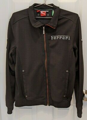 FERRARI x Puma Black Full-Zip Track Jacket Official Product License Men Medium M