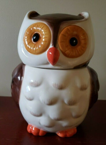 """Adorable Ceramic Owl Cookie Jar Brown White and Gold 9.5"""""""