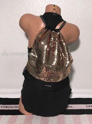 Victoria's Secret Pink Drawstring Backpack Black Gold Sequin Bling Bag - Sequin Pink Backpack