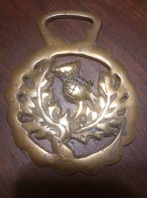 Vintage Horse Brass Harness Medallion - Fine Thistle Scotland