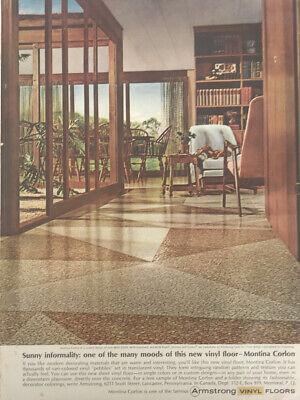 Armstrong Floors Vinyl Magazine Print Ad Vintage Home Decor Bookshelf Chairs