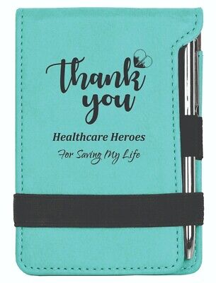 Teal Personalized Leatherette Notepad With Pen For Heathcare Heroes