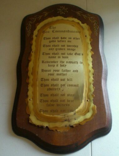 Vintage Home Interiors Homco The Ten Commandments Wood & Brass Wall Plaque