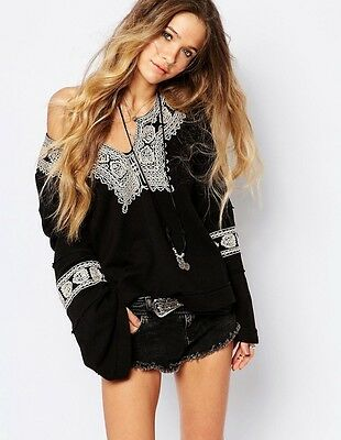 NWT FREE PEOPLE SANTA MARIA EMBROIDERED PULLOVER TOP SWEATER SIZE M MEDIUM $148