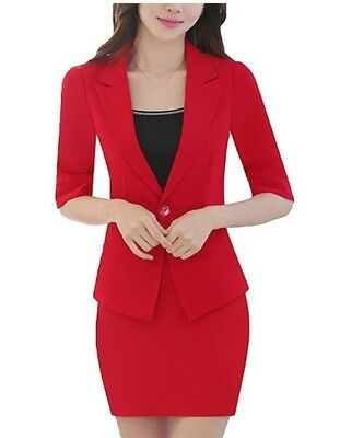 3 Piece Womens Suit (MFrannie Womens 3-Piece Half Sleeve Office Suit Set of Blazer Skirt)