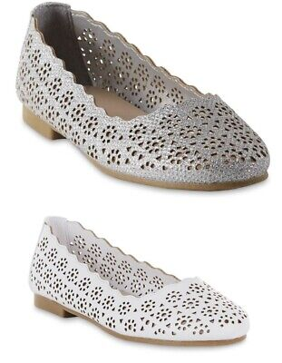 Girls' Jala 2 Cut Out Flats by Piper. White or Glittered Gray. NWT - White Girls Flats